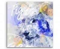 Weißer Tigerkopf in Blautönen