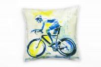 Radsport Deko Kissen Bezug 40x40cm für Couch Sofa Lounge Zierkissen
