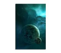 Planets Near The Turquoise Nebula Fantasy Art 90x60cm