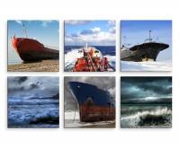6 teiliges Leinwandbild je 30x30cm -  Schiff Meer Strand Unwetter
