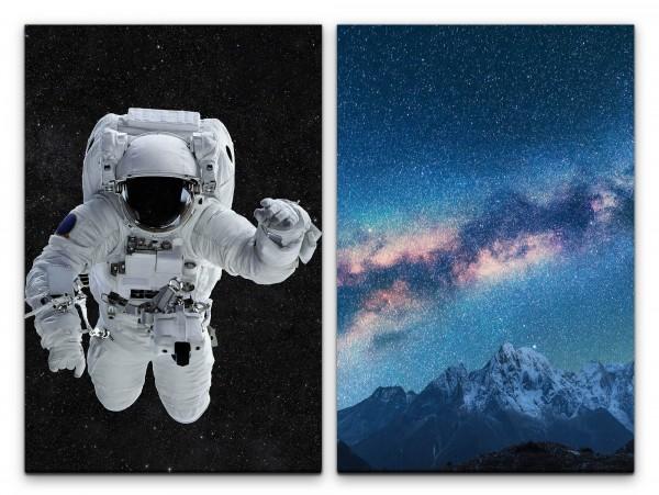 2 Bilder je 60x90cm Astronaut Weltraum Milchstraße Sterne Berge Astrofotografie Traumhaft