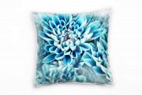 Macro, Blumen, blau, Blütenblätter Deko Kissen 40x40cm für Couch Sofa Lounge Zierkissen