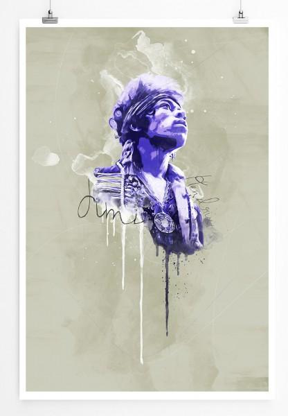 Jimi Hendrix II 90x60cm Paul Sinus Art Splash Art Wandbild als Poster ohne Rahmen gerollt