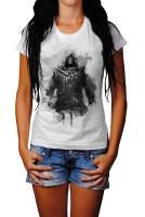 Assassins Creed Blauer Schwert Herren und Damen T-Shirt BLACK-WHITE