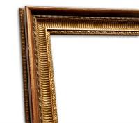 Exklusiver Echtholzrahmen in gold-rot Antik