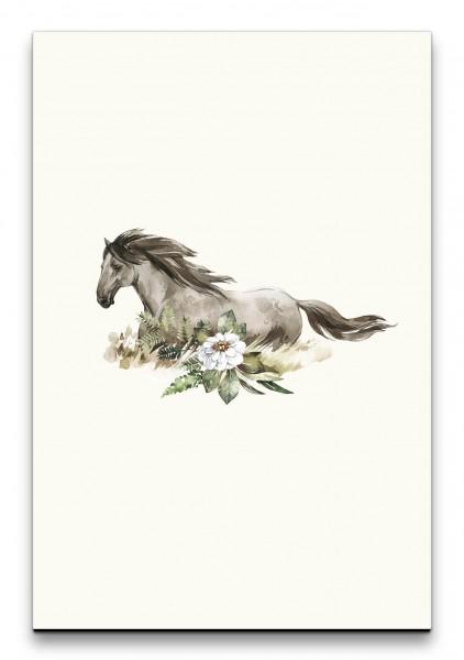 Pferd Blumen Aquarell Modern Kunstvoll Harmonisch