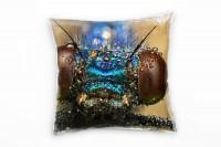 Macro, Tiere, braun, blau, Insekt, Augen Deko Kissen 40x40cm für Couch Sofa Lounge Zierkissen