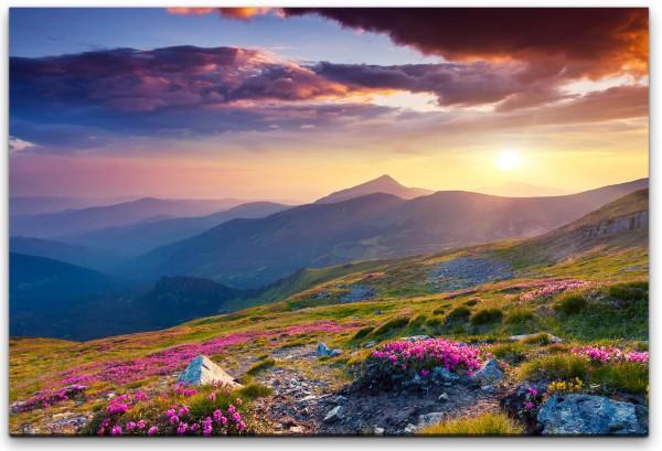 Landschaft mit Blumen Wandbild in verschiedenen Größen