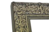 Exklusiver Echtholzrahmen Barock mit Verzierung in silber-grau