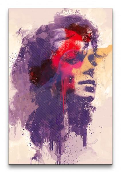Michael Jackson Porträt Abstrakt Kunst King of Pop Musiklegende 60x90cm Leinwandbild