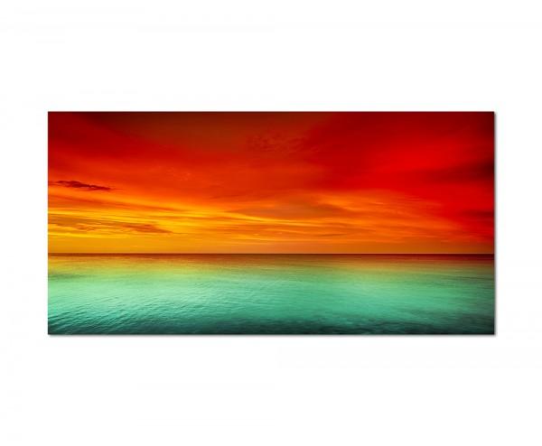 120x80cm Meer Horizont Himmel Abendrot