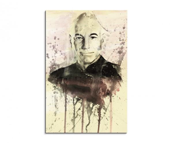 Jean Luc Picard 90x60cm  Aquarell Art Leinwandbild