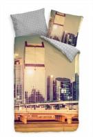 "Wolkenkratzer Skyline D""mmerung Brcke Bettwäsche Set 135x200 cm + 80x80cm  Atmungsaktiv"