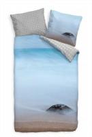 Stein Strand Blau Sand Bettwäsche Set 135x200 cm + 80x80cm  Atmungsaktiv