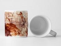 Tasse Geschenk orange, rote Abstraktion, dunkelroten Mustern