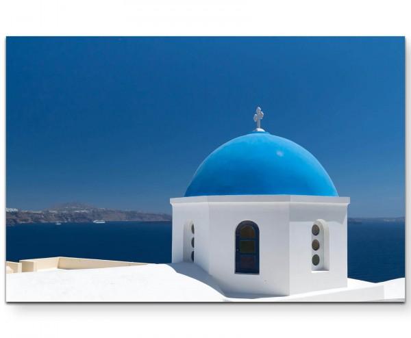 Fotografie – Blaues Kuppeldach, Santorini - Leinwandbild