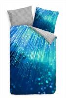 Glasfaser Makro Licht Blau Bettwäsche Set 135x200 cm + 80x80cm  Atmungsaktiv