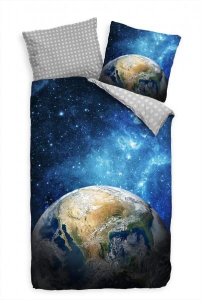 Erde Weltall Milchstraáe Bettwäsche Set 135x200 cm + 80x80cm Atmungsaktiv