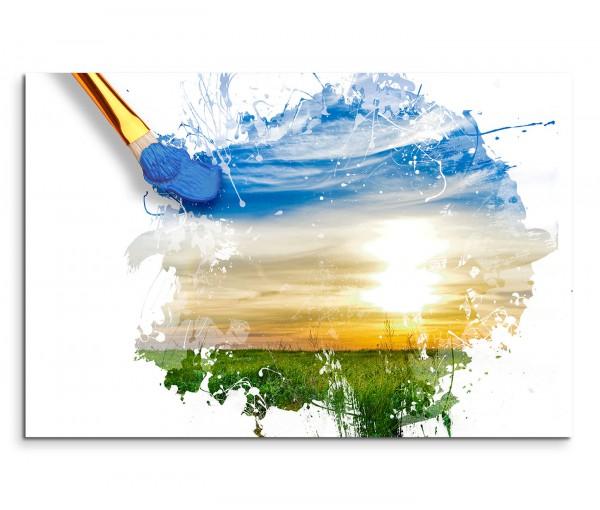 120x80cm Wandbild Malerei Pinsel Landschaft Sonnenaufgang