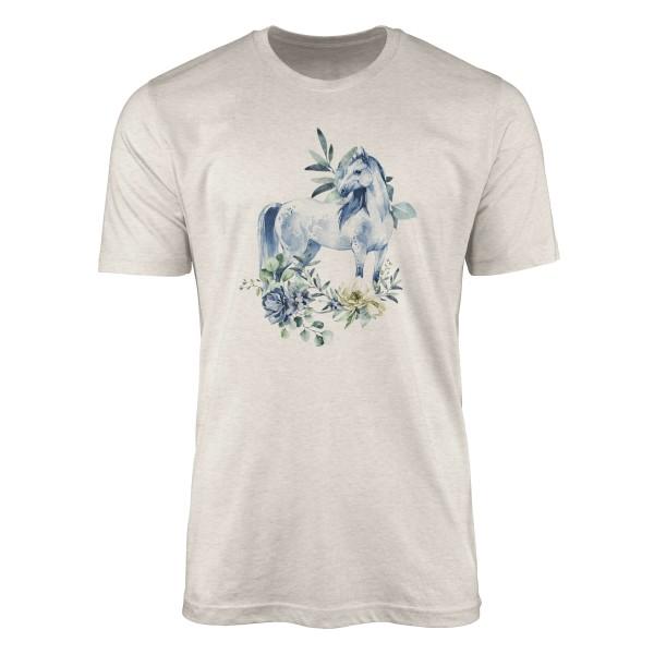Herren Shirt 100% gekämmte Bio-Baumwolle T-Shirt Aquarell Pferd Blumen Motiv Nachhaltig Ökomode aus