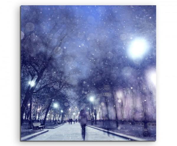 Landschaftsfotografie –  Winternacht im Park auf Leinwand exklusives Wandbild moderne Fotografie für