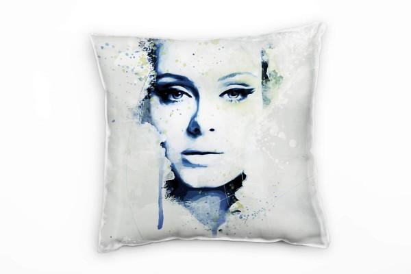 Adele Aqua Deko Kissen Bezug 40x40cm für Couch Sofa Lounge Zierkissen