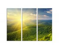 130x90cm Morgensonne Berge blauer Himmel