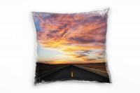 Urban grau, orange, Straße unter prachtvollem Himmel Deko Kissen 40x40cm für Couch Sofa Lounge Zierk