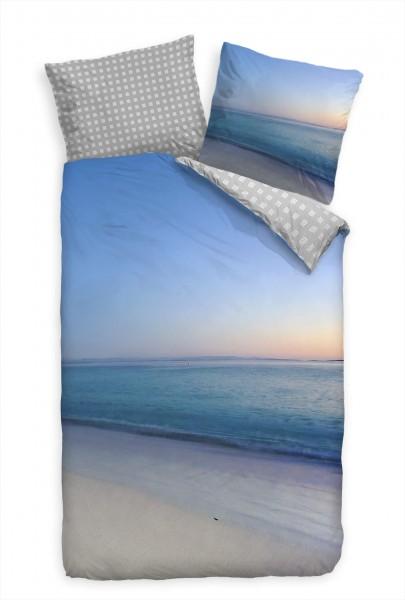 Atlantik Kste Blau Sand Bettwäsche Set 135x200 cm + 80x80cm Atmungsaktiv
