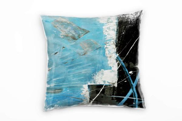 Couch Sofa Lounge Zierkissen in 40x40cm Lichtblau Schwarz Weiß