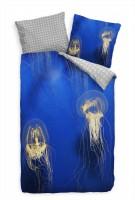 Qualle Blau Durchsichtig Meer Bettwäsche Set 135x200 cm + 80x80cm  Atmungsaktiv