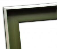 Echtholz Schattenfugenrahmen in dunkelgrün mit Silberkante