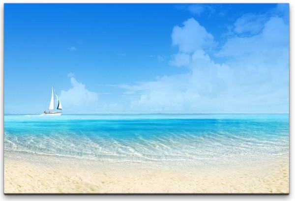 Strand mit Boot Wandbild in verschiedenen Größen