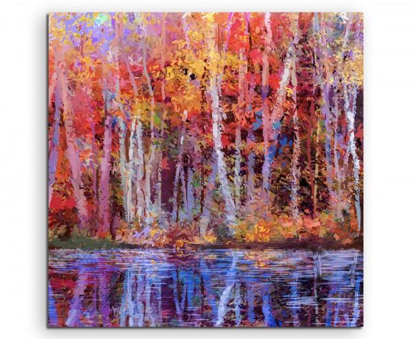 Ölgemälde von farbendfrohen Bäumen im Herbst auf Leinwand exklusives Wandbild moderne Fotografie für