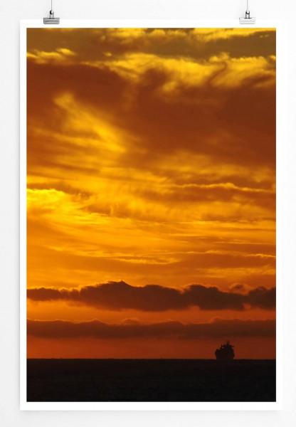 60x90cm Landschaftsfotografie Poster Oranger Himmel
