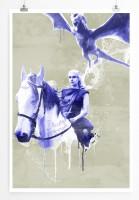 Daenerys Targaryen 90x60cm Paul Sinus Art Splash Art Wandbild als Poster ohne Rahmen gerollt