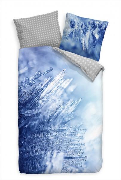 Eis Kristalle Makro Blau Weiss Bettwäsche Set 135x200 cm + 80x80cm Atmungsaktiv