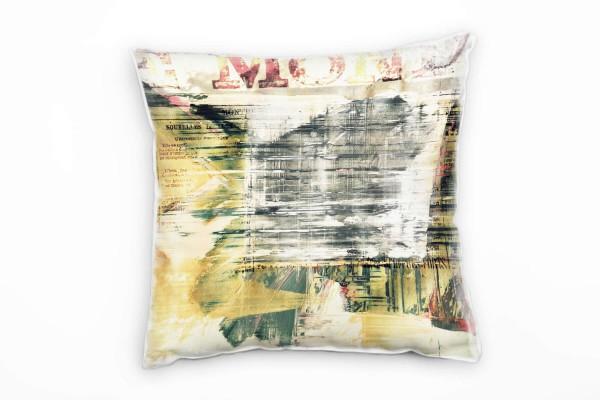 Couch Sofa Lounge Zierkissen in 40x40cm Zeitung Hellgrau helles Ocker Seegrün