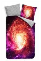 Galaxie Lila Gold Universum Bettwäsche Set 135x200 cm + 80x80cm  Atmungsaktiv