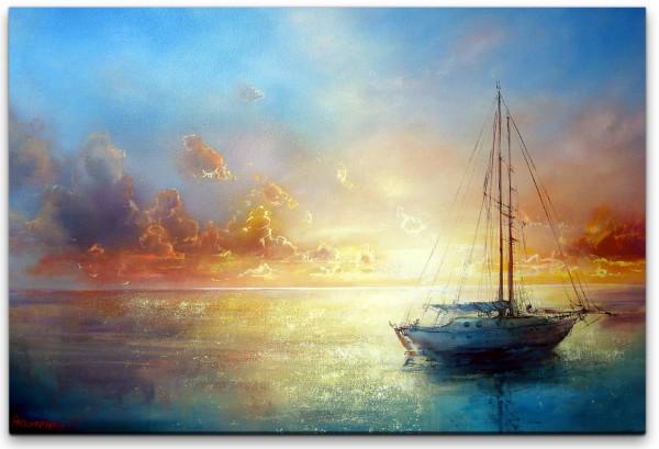 Malerei mit Segelboot Wandbild in verschiedenen Größen