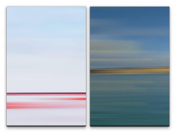 2 Bilder je 60x90cm Rosa Minimal Hell Modern Abstrakt Türkis Horizont