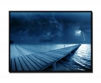 105x75cm Leinwandbild Petrol Sturm und Blitz am Strand