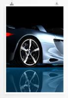 60x90cm Künstlerische Fotografie Poster Silberner Sportwagen