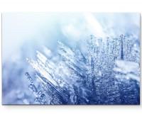 Fotografie - Eiskristalle und eisblauer Hintergrund - Leinwandbild