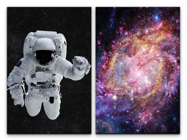 2 Bilder je 60x90cm Astronaut Weltall Galaxie Schwerelos Sterne Supernova Fantasie