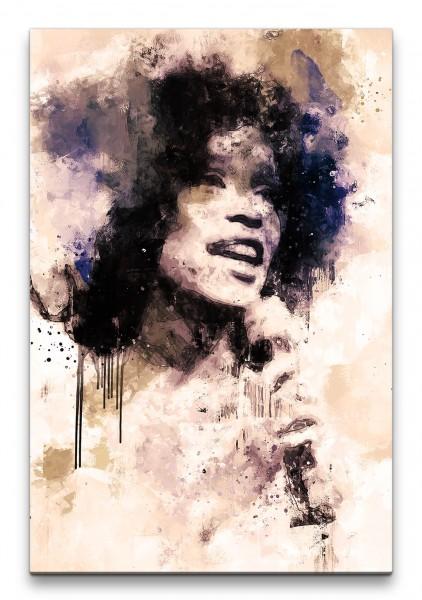 Whitney Porträt Abstrakt Kunst Sängerin Musikikone 60x90cm Leinwandbild