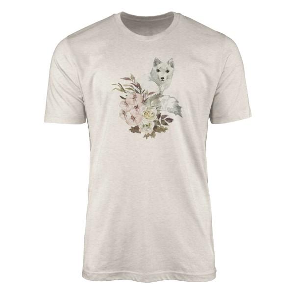Herren Shirt 100% gekämmte Bio-Baumwolle T-Shirt Aquarell Polarfuchs Blumen Motiv Nachhaltig Ökomod
