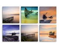 6 teiliges Leinwandbild je 30x30cm -  Schiffswrack Meer Strand Sonnenuntergang
