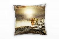 Tiere, braun, gelb, Leopard, Afrika, Nahaufnahme Deko Kissen 40x40cm für Couch Sofa Lounge Zierkisse