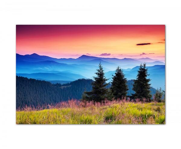 120x80cm Berge Wald Landschaft Morgenrot Natur
